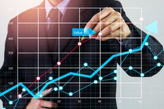Stock market or forex trading graph and candlestick chart suitable for financial investment concept. Economy trends background for. Business idea and all art stock photo