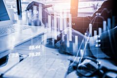 Stock market or forex trading graph and candlestick chart suitable for financial investment concept. Economy trends background for royalty free stock images