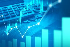 Stock market or forex trading graph in graphic double exposure. Concept suitable for financial investment or Economic trends business idea and all art work Royalty Free Stock Image