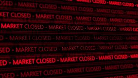 Stock Market Futuristic Ticker - Marcket Closed - Angle 1 - Red Digital. 
