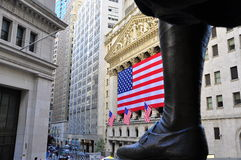Stock Market by George Washington. Shot of wall street stock exchange from George Washington Statue Stock Images