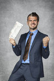 The stock market goes up again. Happy businessman Stock Photography