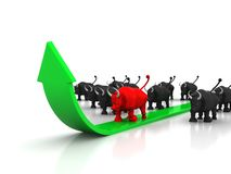 Stock market going up, prosperity, bull market Royalty Free Stock Images