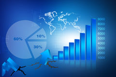 The Stock Market graph. With  pie chart and world Royalty Free Stock Images