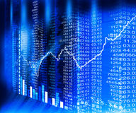 Stock market  Graph. On abstract blue background Royalty Free Stock Image