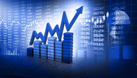 Stock market  Graph. On abstract blue background Royalty Free Stock Photos
