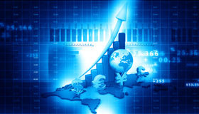Stock market  Graph. On abstract blue background Stock Image