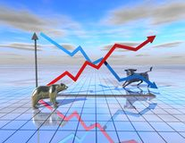 Stock market graph abstract illustration with bear and bull Royalty Free Stock Photos