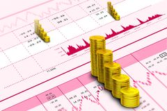Stock market graph analysis with gold coins. Digital illustration of Stock market graph analysis with gold coins Royalty Free Stock Photography