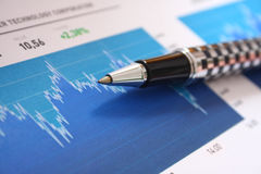 Stock market graph analyzing Royalty Free Stock Image