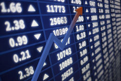 Stock market graph with an arrow going up Stock Photo
