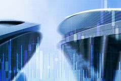 Stock Market Graph and Bar Candlestick Chart on futuristic city background. Stock Market Graph and Bar Candlestick Chart on futuristic city background stock illustration