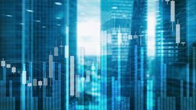 Stock Market Graph and Bar Candlestick Chart on futuristic city background.  royalty free stock photo