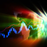 Stock Market Graph and Bar Chart Royalty Free Stock Photo