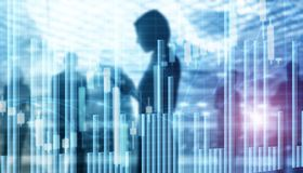 Stock Market Graph and Bar Chart. Abstract blurred universal business background.  royalty free stock photography
