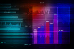 Stock Market Graph and Bar Chart. In colour Stock Photography