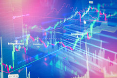 Stock market graph and bar chart price display. Stock Images