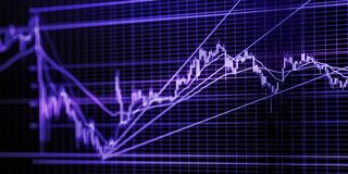Stock market graph. Blue toned blurred image with diminishing perspective and selective focus stock photography