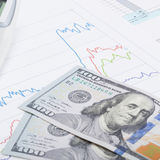 Stock market graph with calculator and 100 dollars banknote - close up Royalty Free Stock Photography