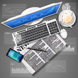 Stock market graph on computer screen and mobile phone with news. Financial data on computer screen and mobile phone with newspaper and coffee Royalty Free Stock Image