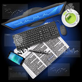 Stock market graph on computer screen and mobile phone with news. Financial data on computer screen and mobile phone with newspaper and green tea Royalty Free Stock Images