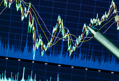 Stock market graph. On the display screen Stock Photo