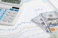 Stock market graph with 100 dollars banknote and calculator Royalty Free Stock Photos
