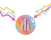 Stock market graph down to pop the property bubble. Financial Crisis Concept. flat design elements. vector illustration Stock Images