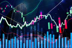 Free Stock Market Graph In Modern Building City Sky, Concept For Stock Trading And Financial Markets, Stock Photo - 192805830