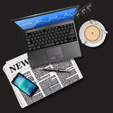 Stock market graph on laptop screen and mobile phone. Financial data on laptop screen and mobile phone with newspaper and latte art Stock Images