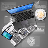Stock market graph on laptop screen and mobile phone with newspa. Financial data on laptop screen and mobile phone with newspaper and coffee Royalty Free Stock Photography