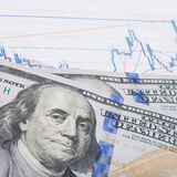 Stock market graph with pen and 100 dollars banknote Stock Image