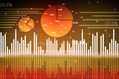 The Stock Market graph with pie chart and world. In colour Royalty Free Stock Images