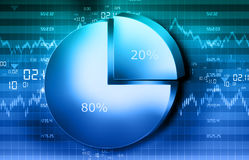 The Stock Market graph with  pie chart and world. 3d illustration of The Stock Market graph with  pie chart Royalty Free Stock Photos