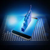 Stock  Market  Graph   on smartphone,cell phone illustration Royalty Free Stock Photos