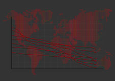 Stock Market Graph on World Map Stock Images