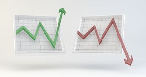 Stock market graphs. Illustration in 3D of Stock Market graphs with green version trend upwards and red version downwards each isolated on plain light background Stock Image