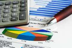 Financial accounting stock market graphs analysis Royalty Free Stock Photography