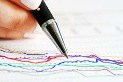 Financial graphs and charts analysis Royalty Free Stock Photo