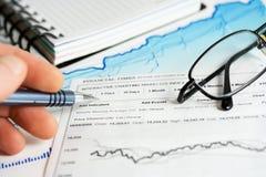 Stock market graphs analysis stock photos
