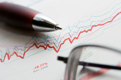 Stock market graphs analysis Stock Images