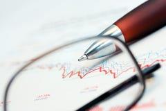 Stock market graphs analysis. Stock market graphs and charts monitoring royalty free stock photos