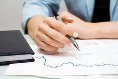 Stock market graphs analysis Royalty Free Stock Image