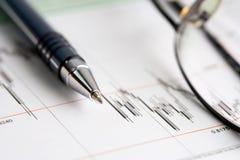 Stock market graphs analysis. Stock market graphs and charts monitoring royalty free stock photo