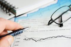 Stock market graphs analysis. Analysis of stock market graphs and charts stock photography