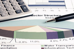Stock market graphs analysis Stock Image