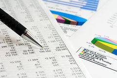 Financial graphs and charts accounting Stock Photos