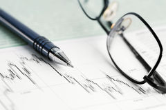 Stock market graphs and charts Royalty Free Stock Image