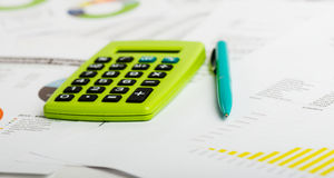Stock market graphs and charts. Business still life Stock Photography