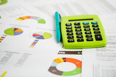 Stock market graphs and charts Royalty Free Stock Photo